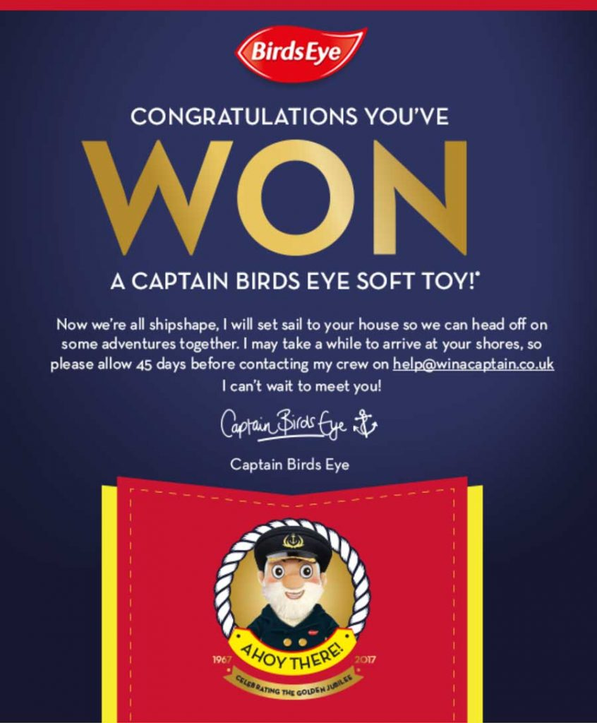 Birds Eye Win a Captain soft toy every ten minutes