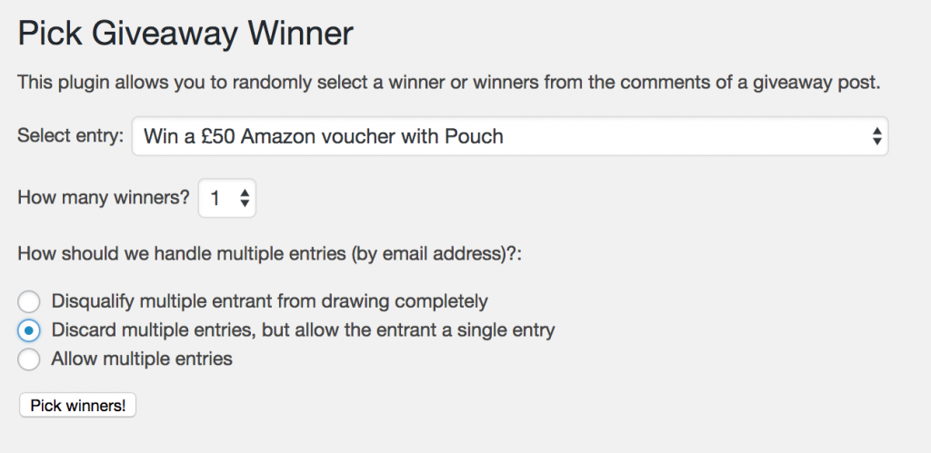 Amazon giveaway winners