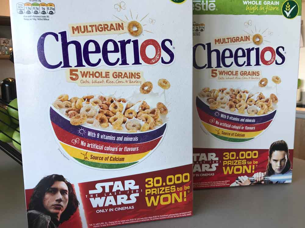 Win 30,000 Star Wars prizes when you buy promotional packs of Nestlé Cereals!