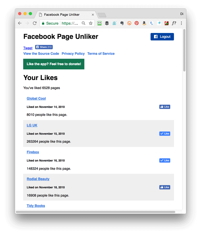 Use Page Unliker to unlike Facebook pages quickly!