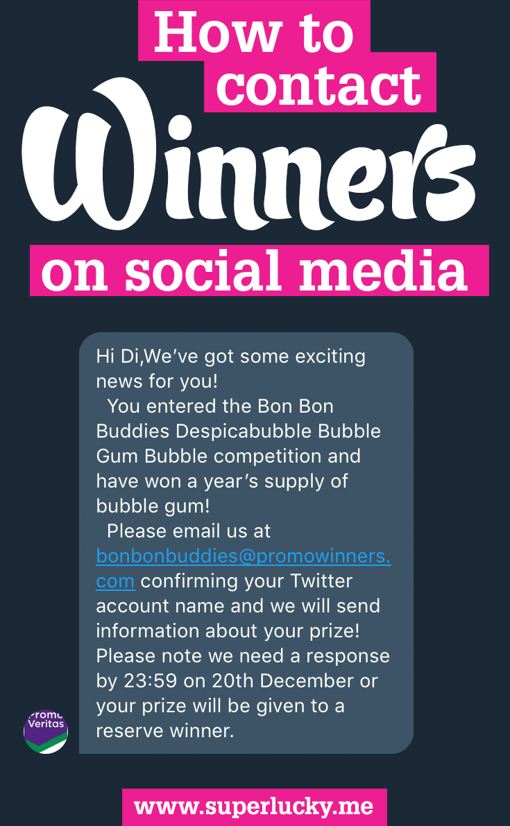 How to contact a winner - advice on contacting competition winners on social media