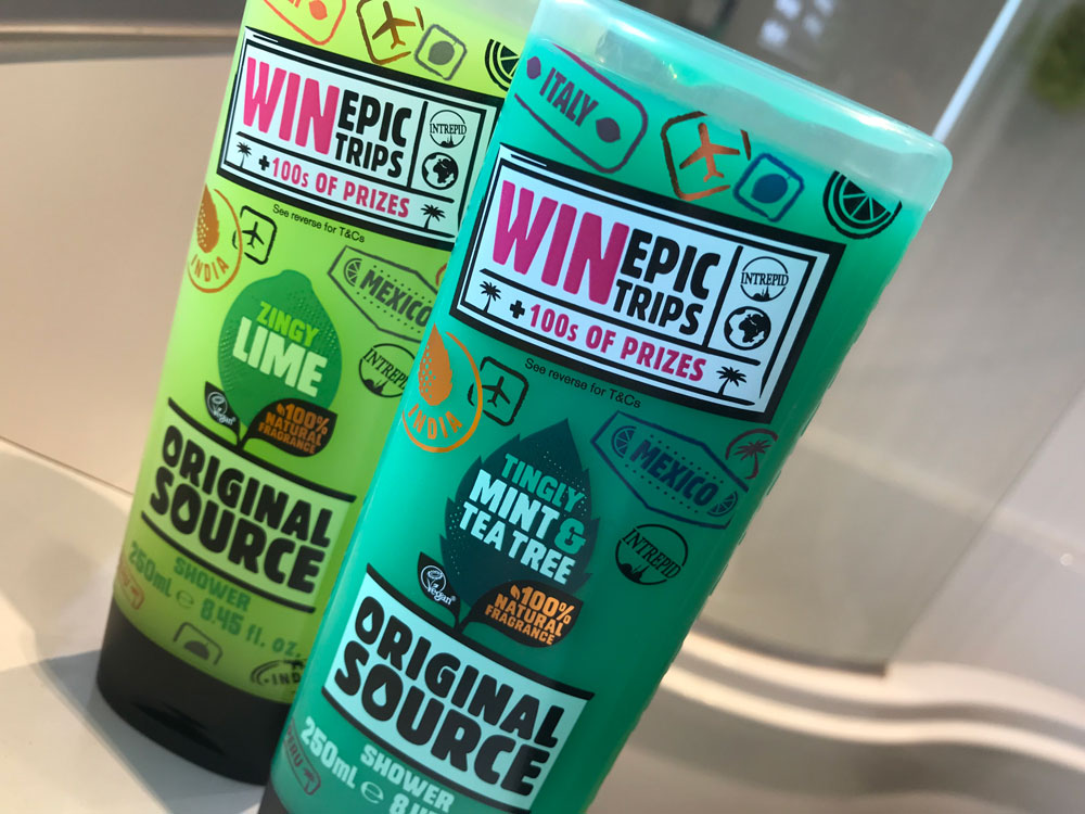 Win epic trips when you buy Original Source shower gel!