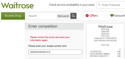 Why won't Waitrose competition entry forms submit?